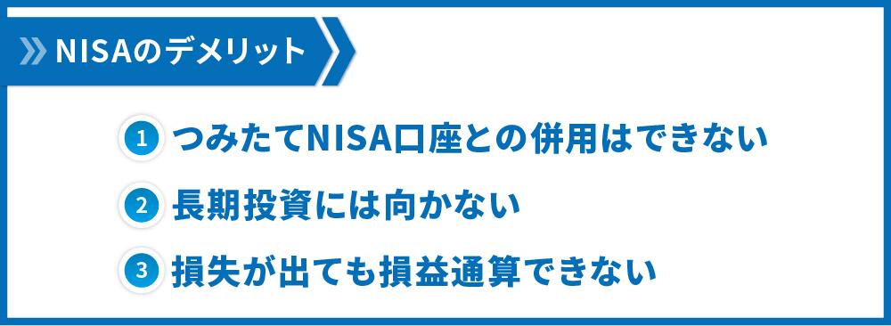 NISAのデメリット